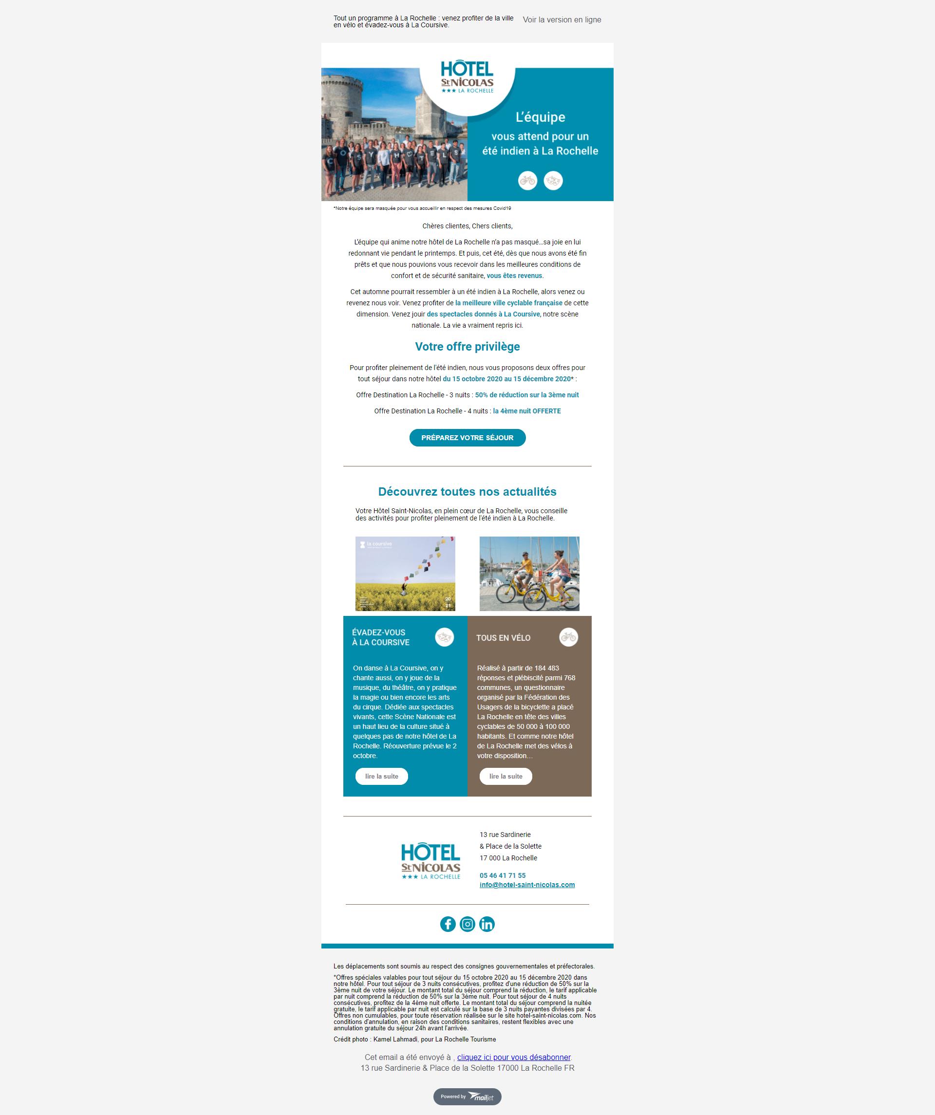 Template emailing de Cosy Hotels pour l'hôtel Saint Nicolas La Rochelle