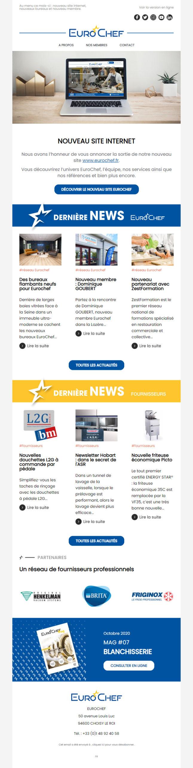 Création du template de la newsletter Eurochef