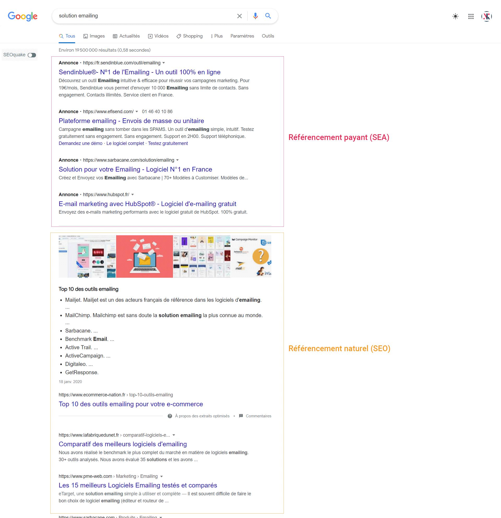 Les résultats dans le moteur de recherche Google Ads, SEA, vs référencement naturel SEO