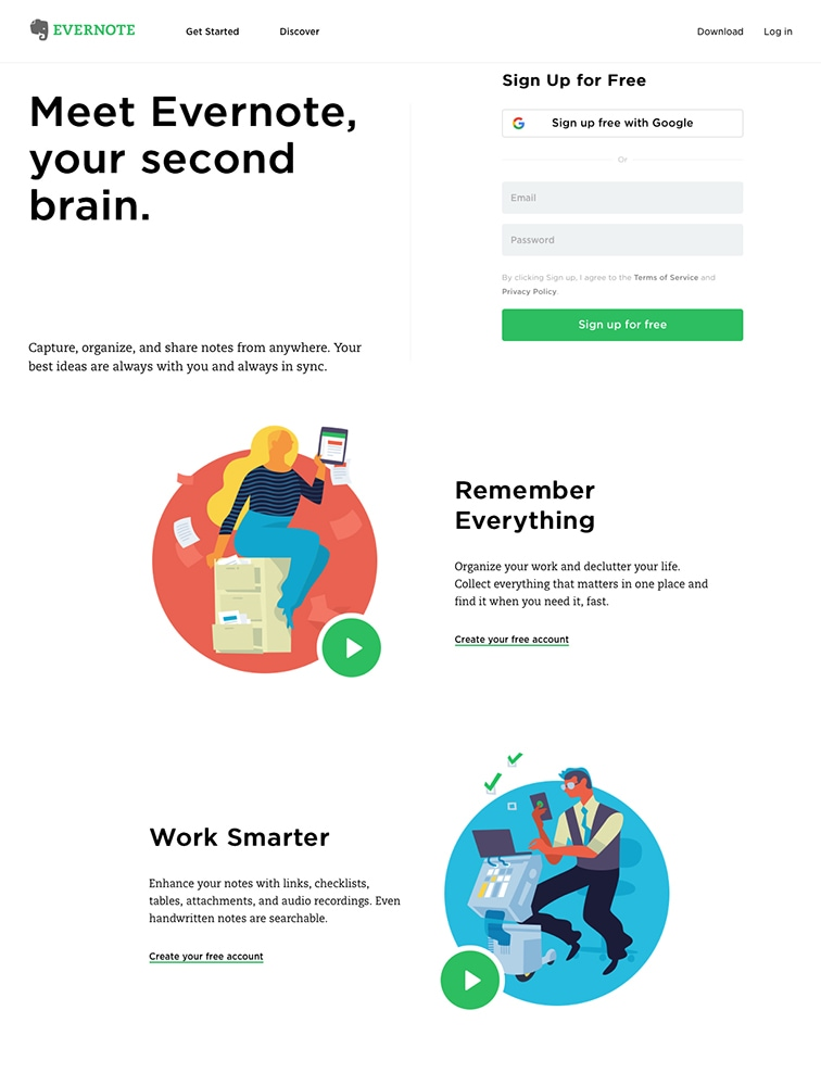 Exemple de la landing page Evernote