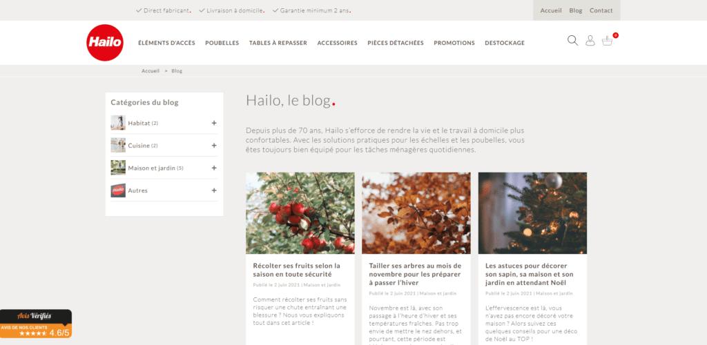 Le blog du site e-commerce Hailo France
