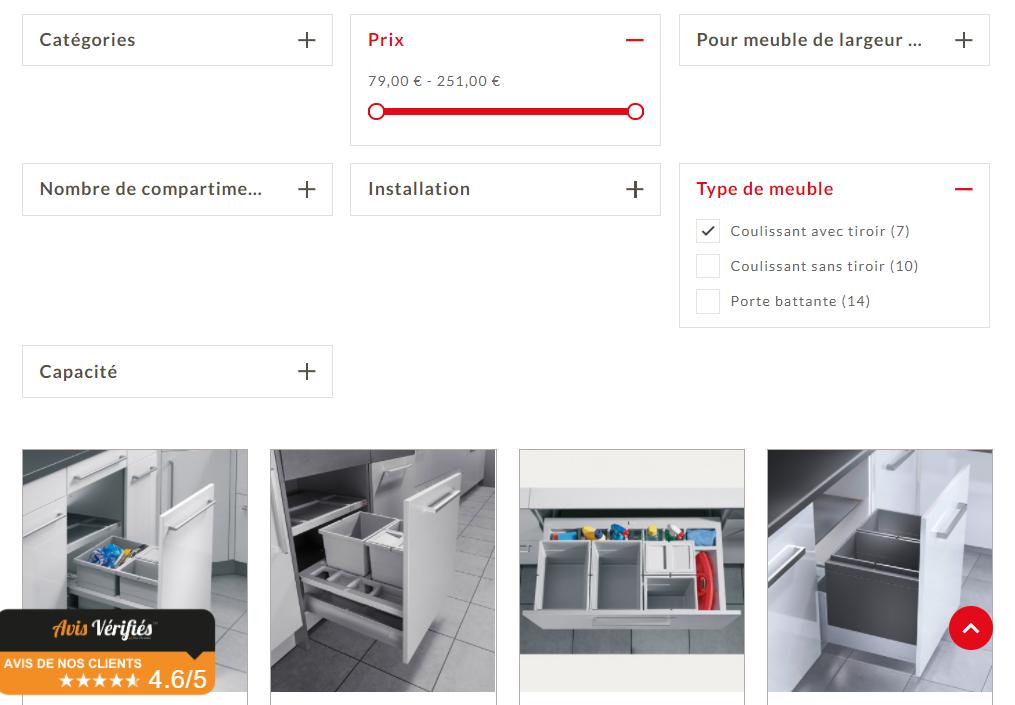Navigation à facettes sur le site e-commerce Hailo France