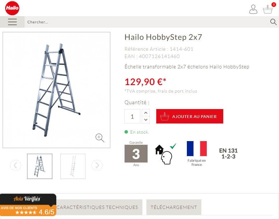 Page produit du site e-commerce Hailo France